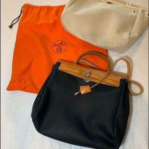 HERMÉS 2in1 Black and Tan Her Bag PM1